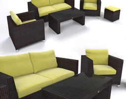 3d model garden furniture - synthetic rattan set - ato venedig