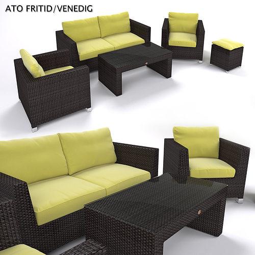 garden furniture - synthetic rattan set - ato venedig 3d model max obj fbx mtl 1
