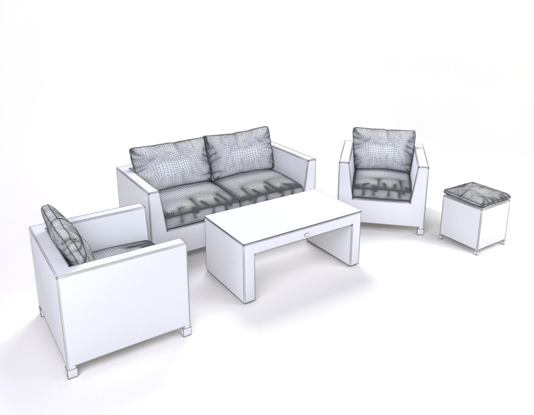 garden furniture synthetic rattan set ato venedig 3d model max