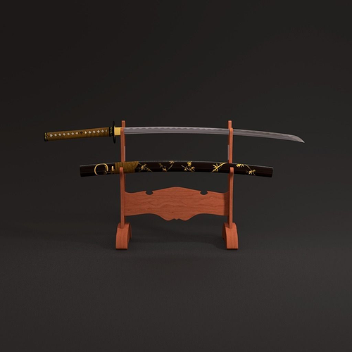 katana sword 3d model obj mtl fbx 1