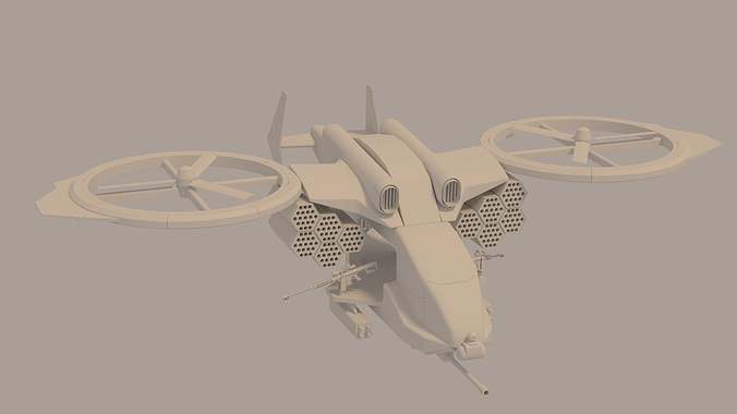 gunship 3d model obj fbx stl blend dae mtl 1