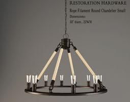restoration hardware  rope filament round chandelier small 3d model