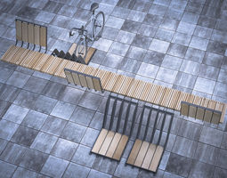 bench with parking space for bicycles 3d