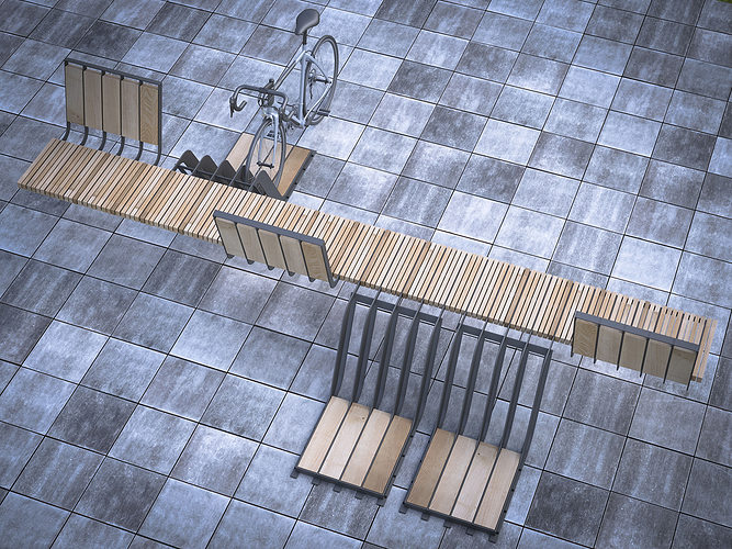 bench with parking space for bicycles 3d model max 1