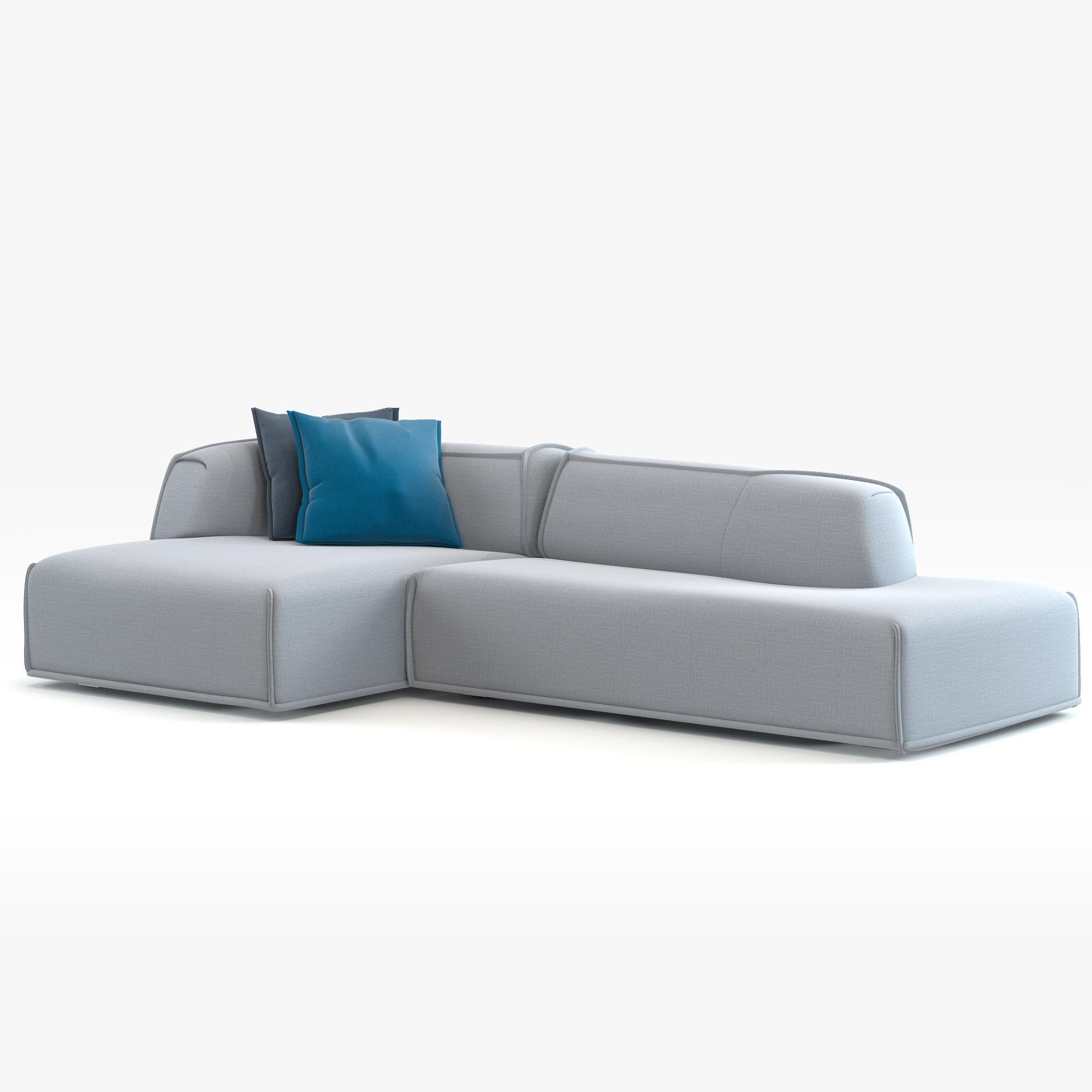 Modern Couch Moroso Massas 3D Model MAX OBJ FBX