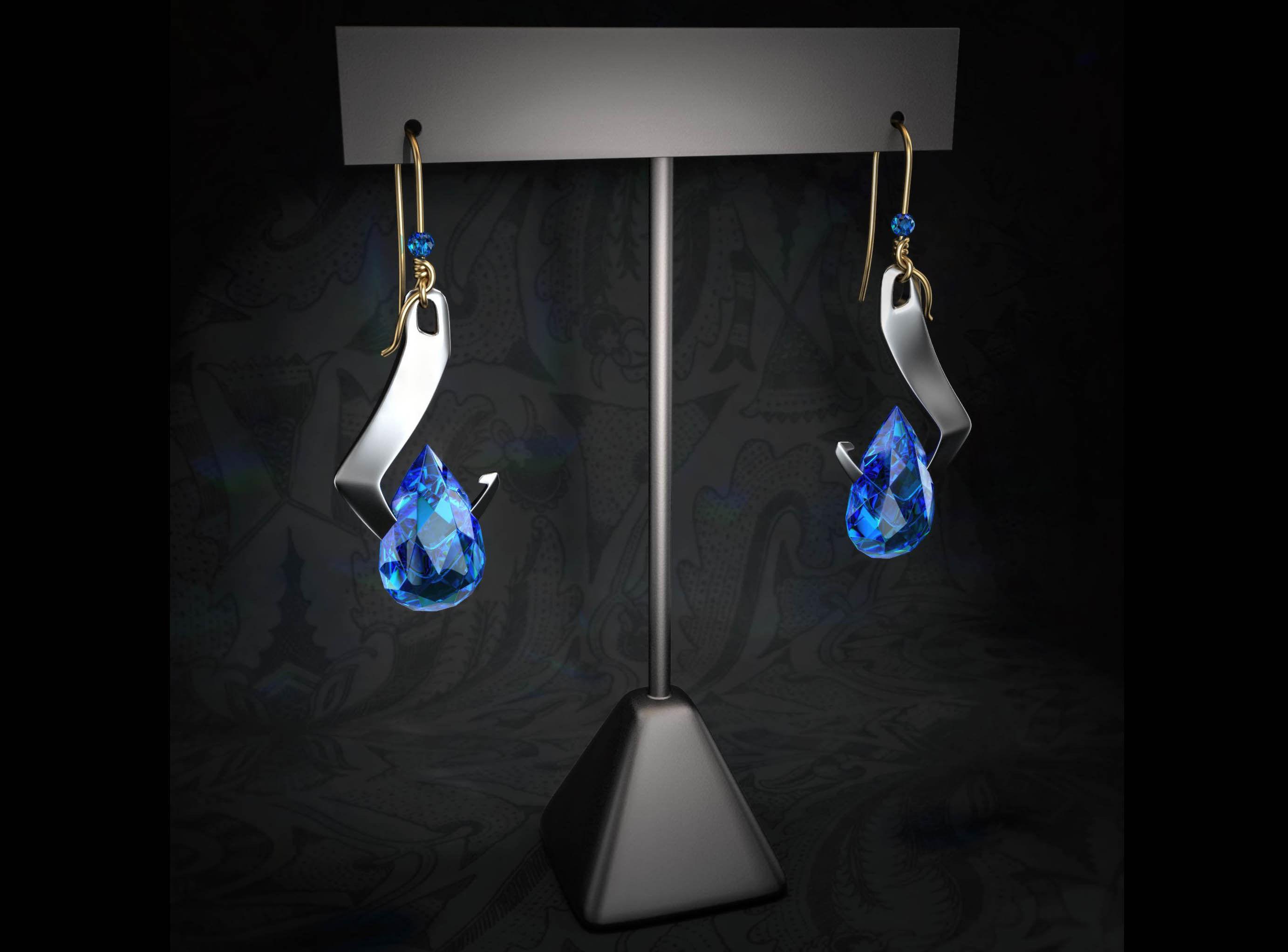 Modern Blue Diamond Earrings