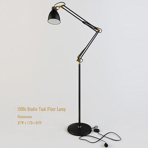 Restoration Hardware S Studio Task Floor Lamp D Model MAX OBJ - Restoration hardware floor lamps