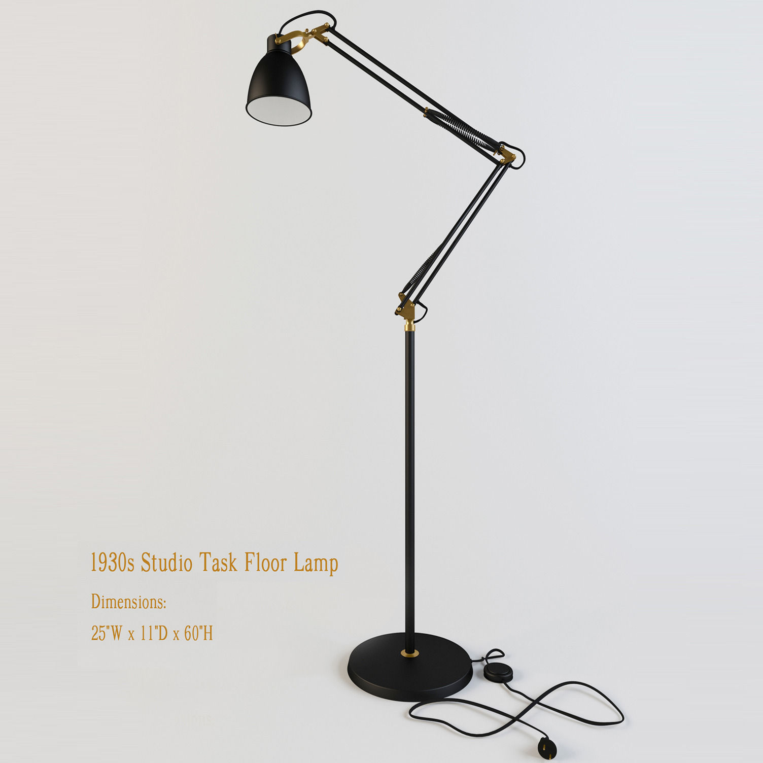 Restoration Hardware 1930s Studio Task Floor Lamp 3d Model Max Obj 3ds Mtl 1