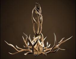 3d rh adirondack antler 6-arm chandelier