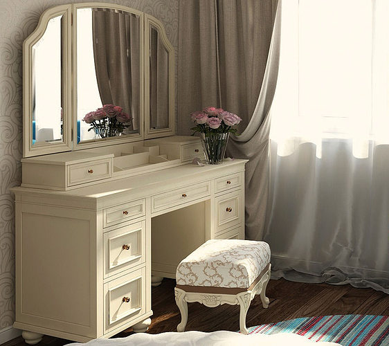 vanity cosmetic table with mirror 3d model max obj mtl fbx 1