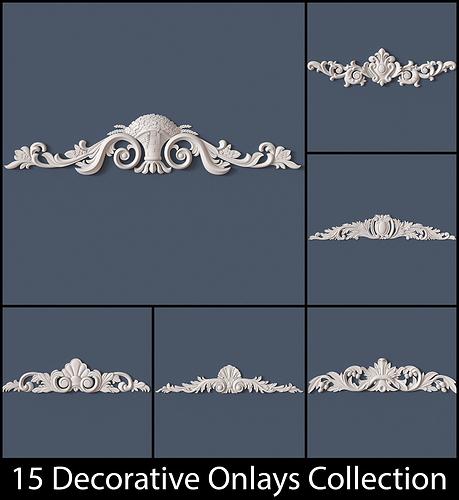 15 decorative onlays collection 3d model obj 1