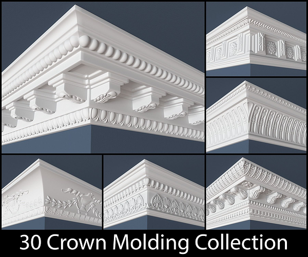 30 crown molding collection  3d model obj 1
