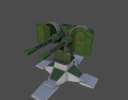 3d asset gatling gun PBR realtime