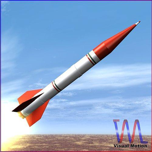 shahin ii rocket 3d model low-poly obj 3ds fbx dxf blend dae 1