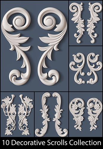 10 decorative scrolls collection  3d model obj mtl 1