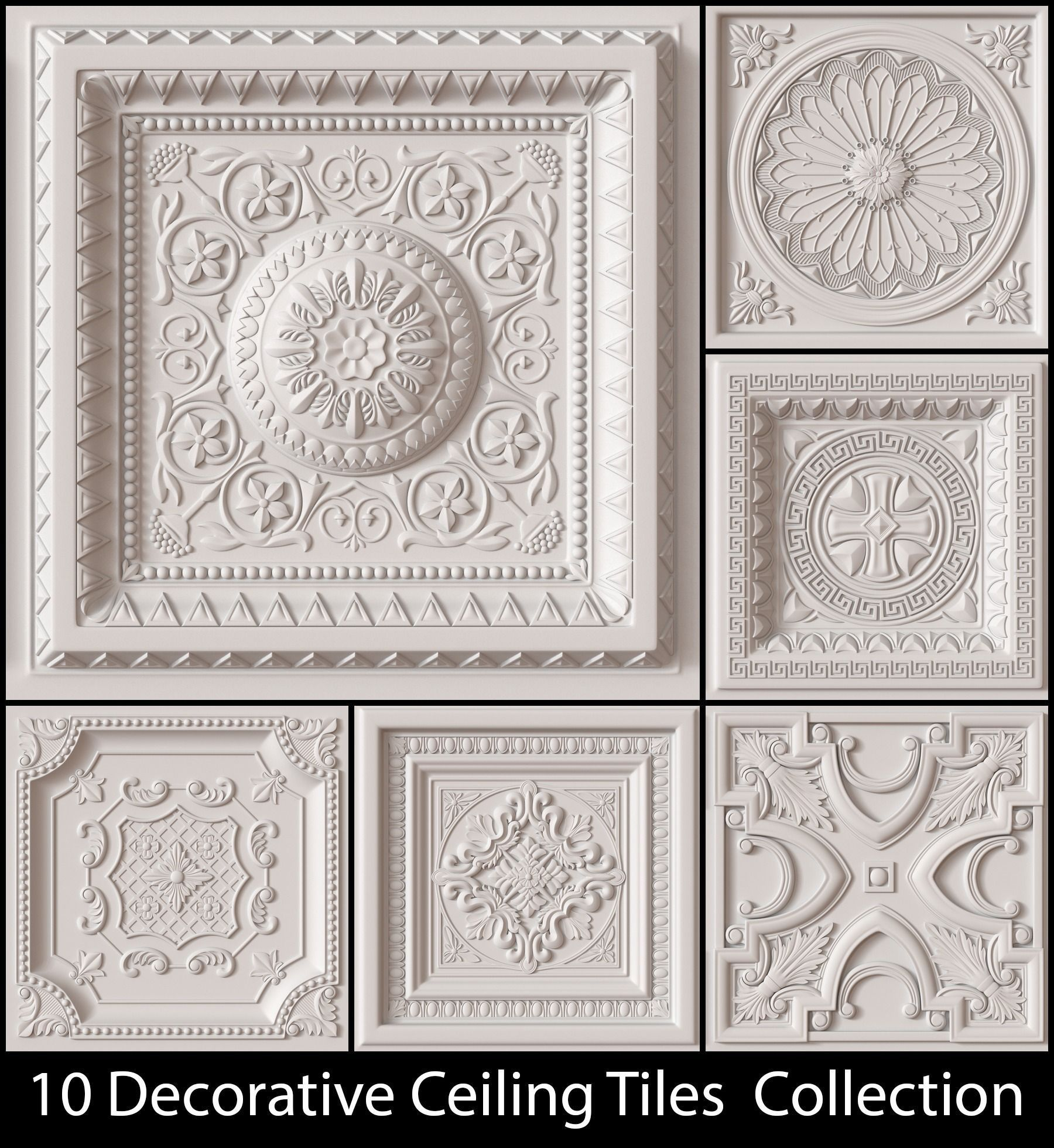 10 Decorative Ceiling Tile Collection Model Obj 1