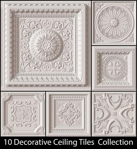10 decorative ceiling tile collection 3d model obj mtl 1