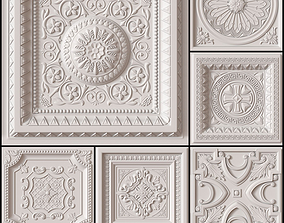 10 Decorative Ceiling Tile Collection classical 3D model