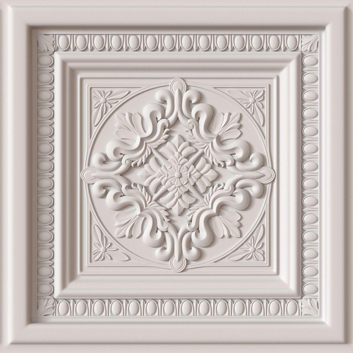 10 Decorative Ceiling Tile Collection 3d Model Obj 4