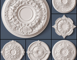 3D details 10 Ceiling Medallions Collection