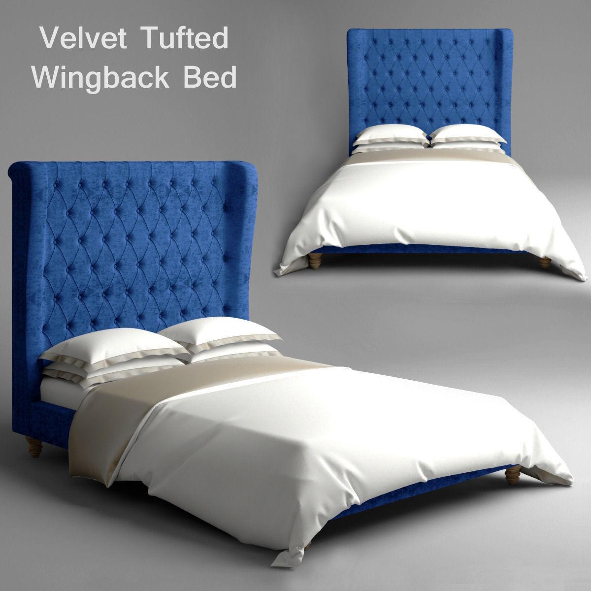 velvet tufted wingback bed 3d model max obj mtl 1