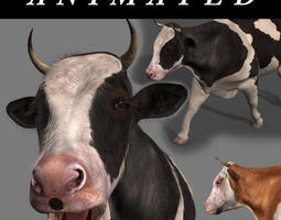 animated top cow - 3d model