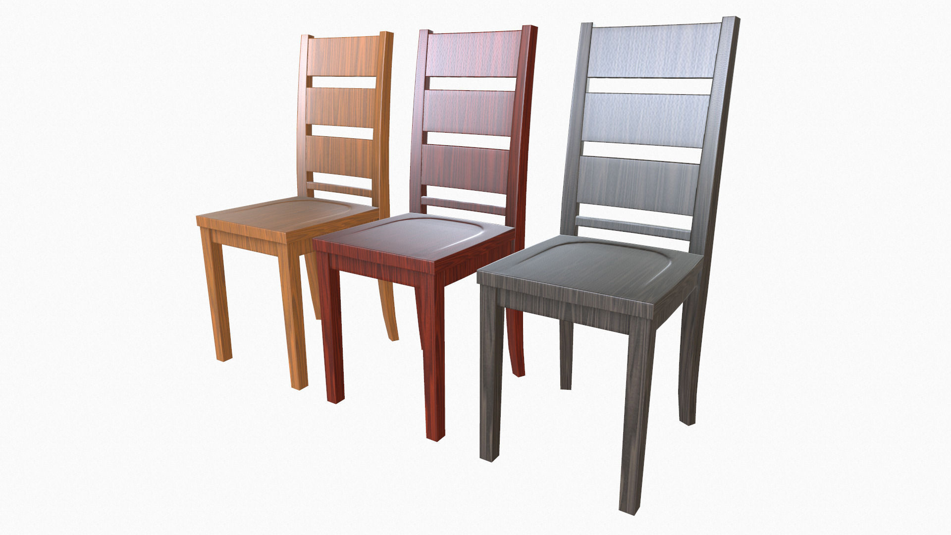 Simple wooden dining chairs -  Simple Wooden Dining Chair 3d Model Low Poly Obj Fbx 2