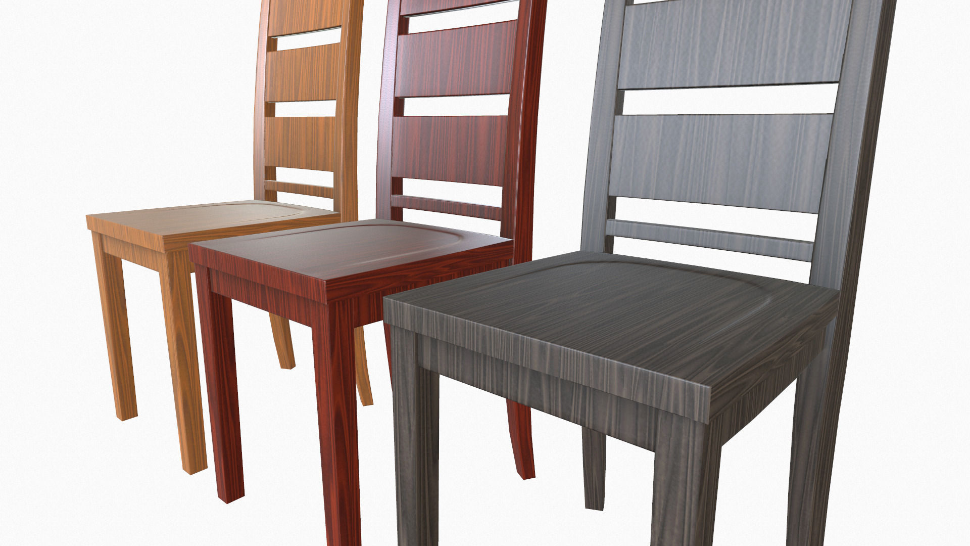 Simple wooden dining chairs -  Simple Wooden Dining Chair 3d Model Low Poly Obj Fbx 4