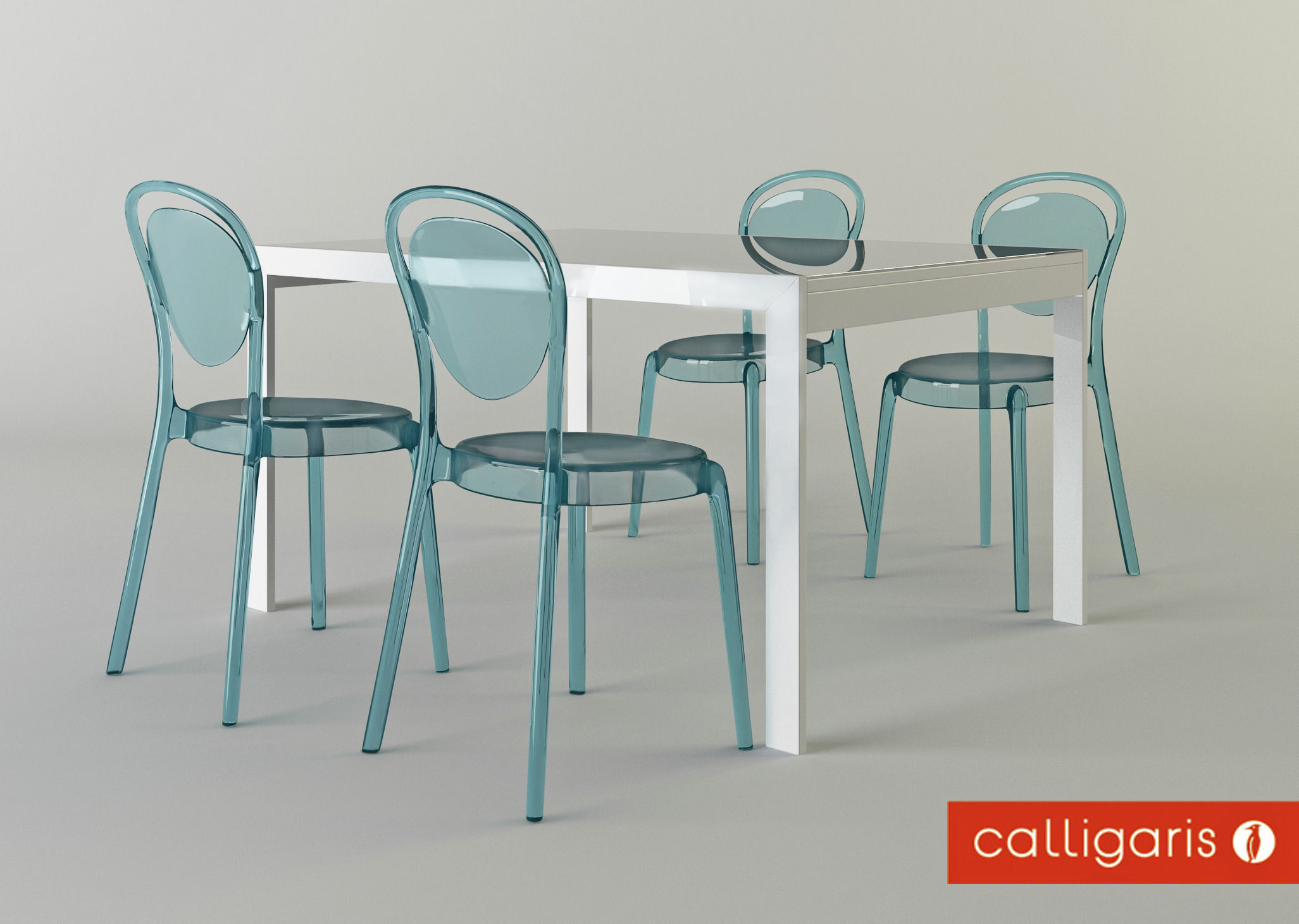 furniture set calligaris chair parisien and table key 3d model max