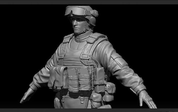 high res soldier model 1 3d model ztl 1