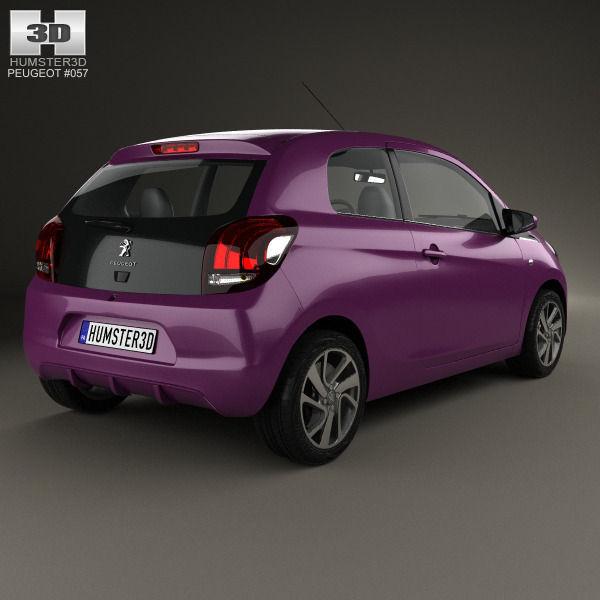 Peugeot 108 3 Door 1 0 Active Hatchback: Peugeot 108 3-door 2014 3D Model MAX OBJ 3DS FBX C4D LWO