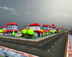 Cartoon city four 3D asset