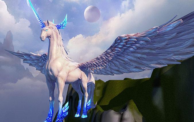 unicorn 3d model low-poly max obj mtl tga 1