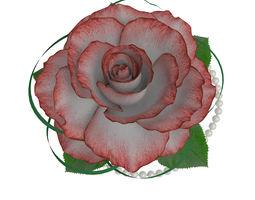 rose in a banana leaf 3d