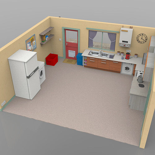 3d Model Sallys Kitchen Interior Cgtrader