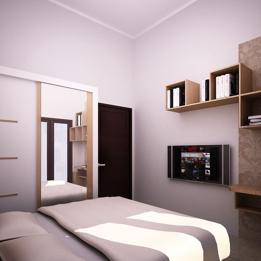 Bedroom small free 3d model dwg for Bedroom designs 3d model