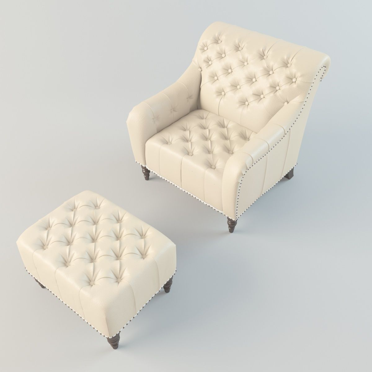 Brady Tufted Leather Chair And Ottoman 3d Model Max Fbx 2