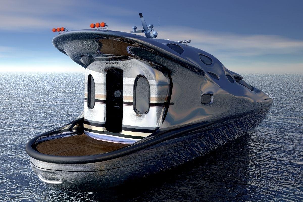 Small Luxury Yacht 3d Model Obj Mtl 4