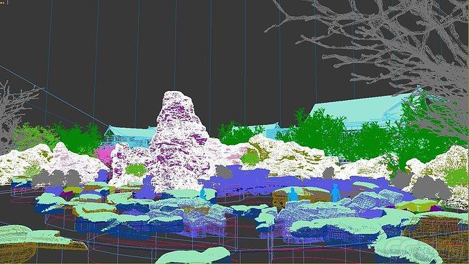 Exterior: Snow Spa Scene 3D Model MAX TGA