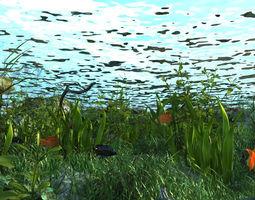 3D model The bottom of the lake scene