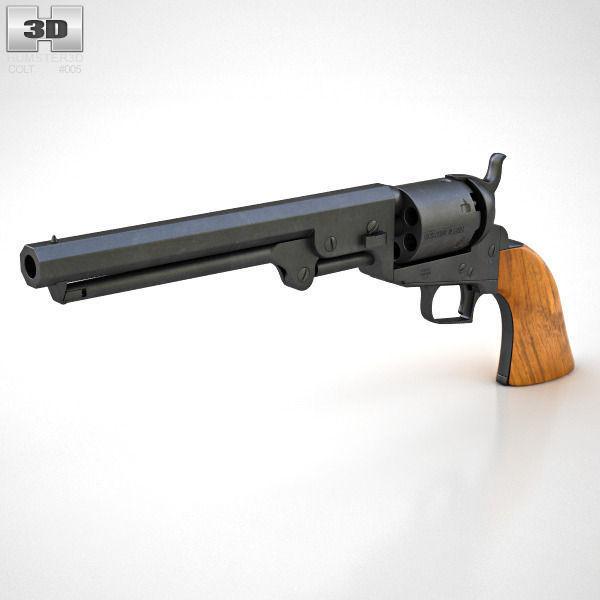 colt 1851 navy revolver 3d model cgtrader