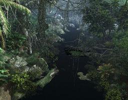 3D Forest mountain creek
