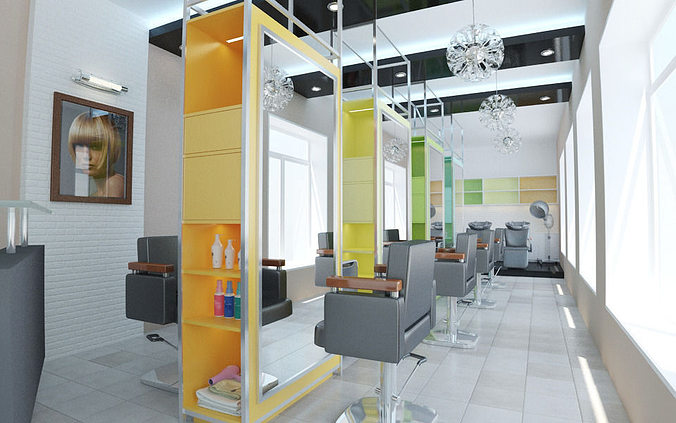 salon interior design hair model other models max cgtrader