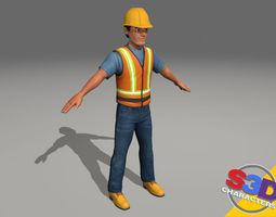 construction worker 2 3d model
