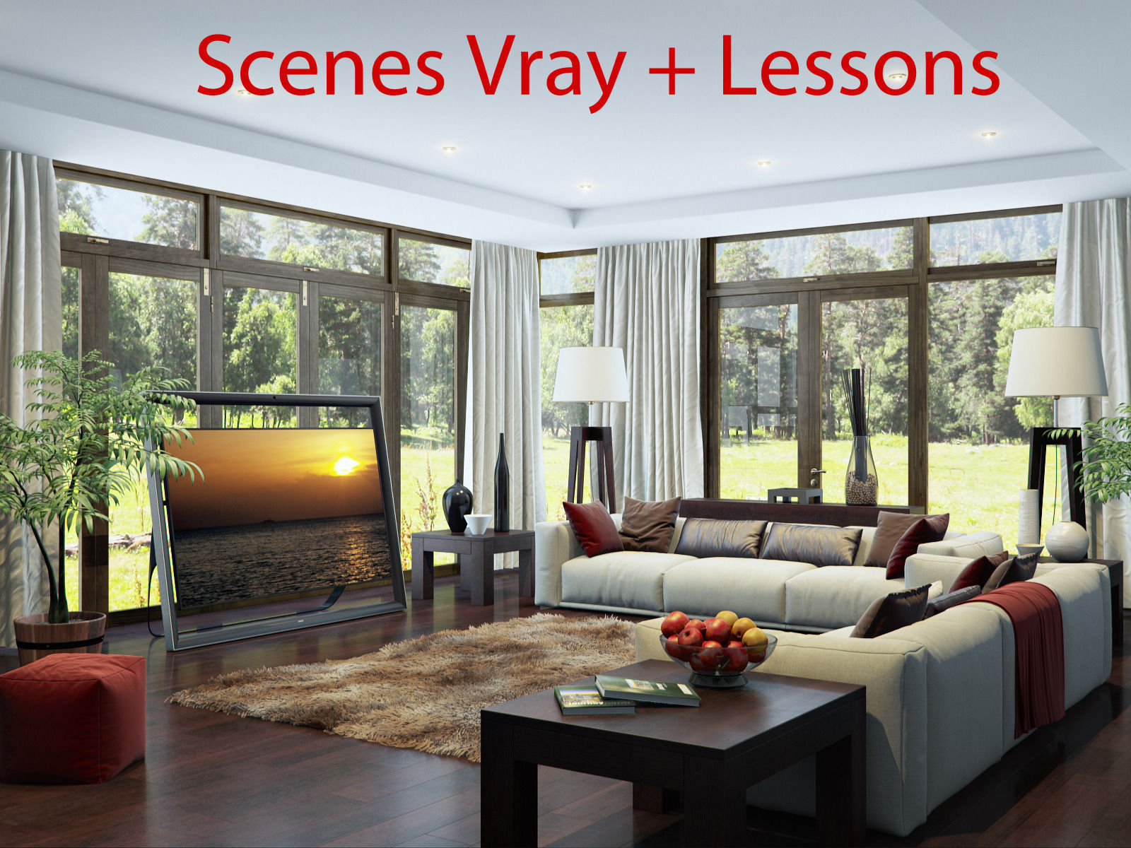 Living room v ray interior scene 3d model max for Dining room 3d max interior scenes
