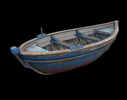 3d model game-ready wooden boat