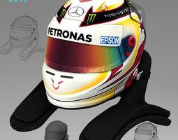 3D model Lewis Hamilton Helmet 2015