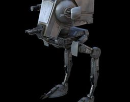 game-ready rigged star war atst game res model