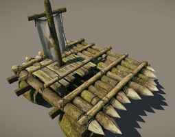 game-ready wooden raft model