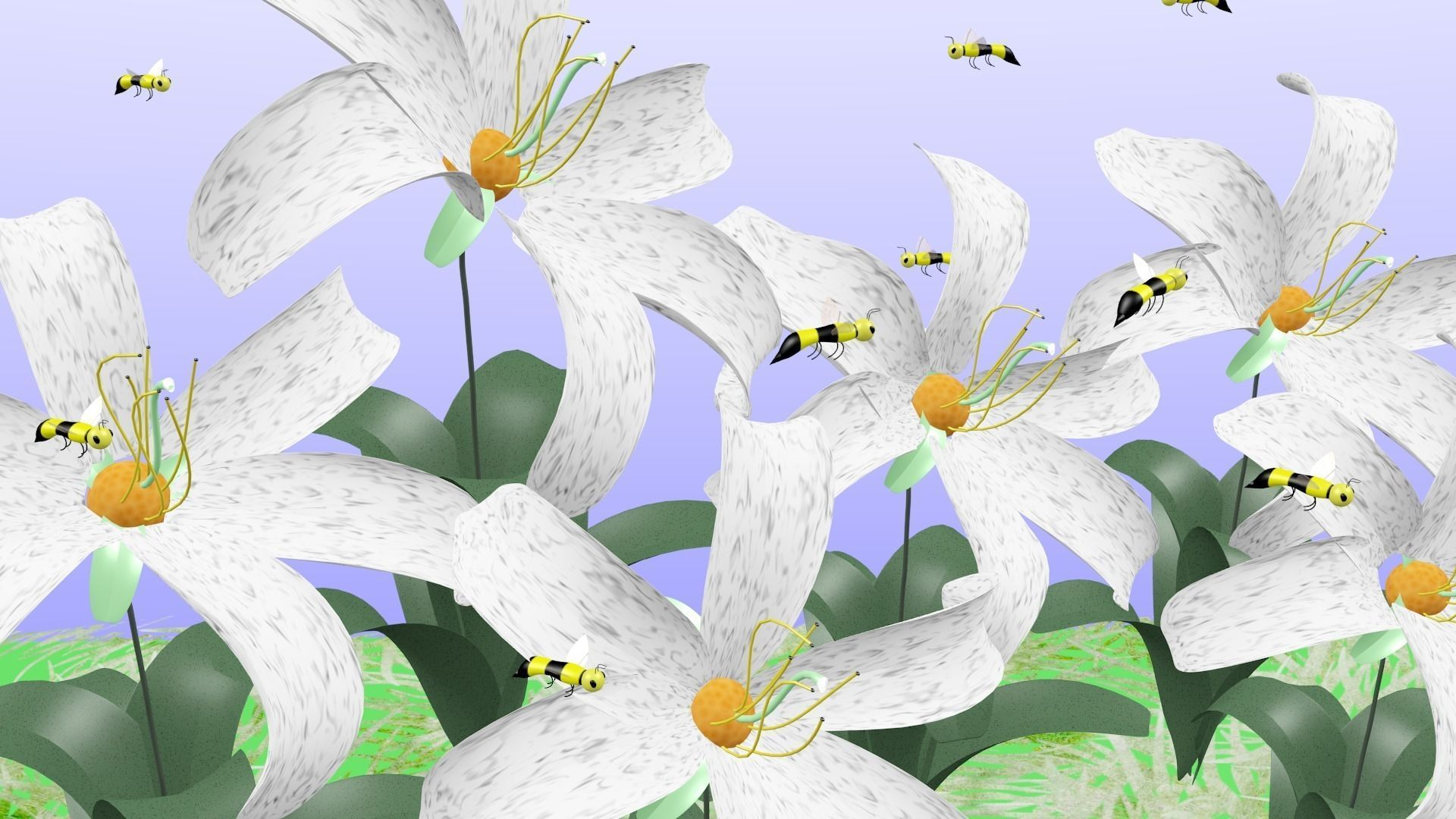 3d Model Field Of White Striped Flowers Cgtrader